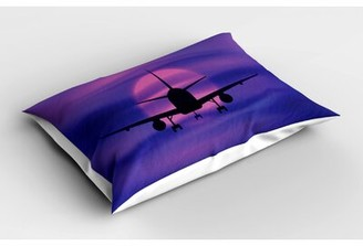 East Urban Home Ambesonne Airplane Pillow Sham, Plane Silhouette In Dreamy Sunset Sky Vacation Holiday Travel Theme, Decorative Standard Standard Size Printed Pillowc