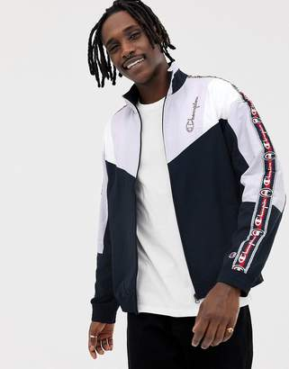 Champion track jacket with sleeve taping in navy