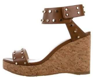 Jimmy Choo Stud-Embellished Ankle Strap Wedges