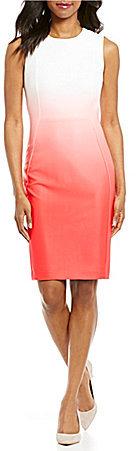 Calvin KleinCalvin Klein Sleeveless Ombre Scuba Sheath Dress