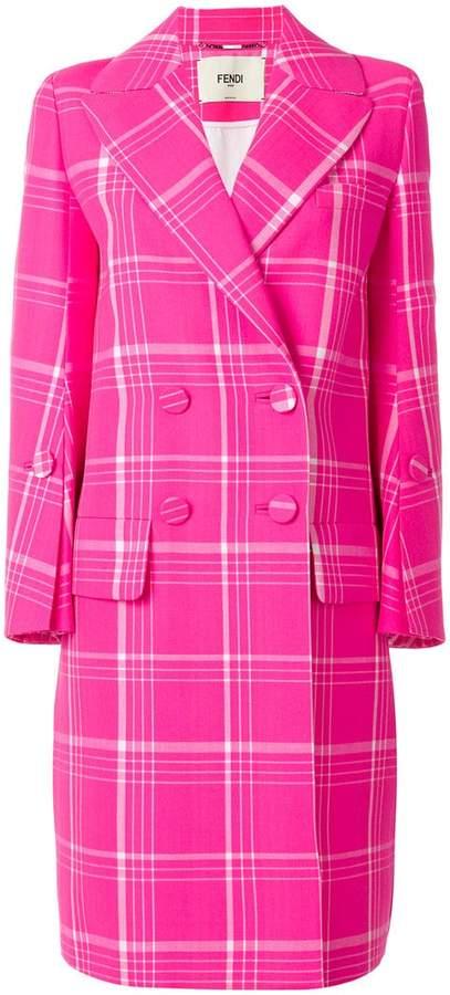 Fendi checked tailored coat