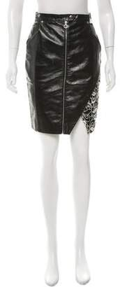 Brandon Sun Guipure-Lace Paneled Leather Skirt
