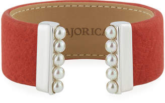 Majorica 5mm Pearl & Faux Leather Cuff