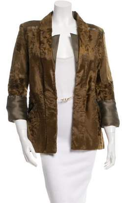 Oscar de la Renta Silk-Trimmed Lamb Fur Blazer w/ Tags