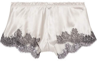 Chantilly Lace-trimmed Silk-blend Satin Shorts - Cream