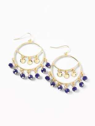 Old Navy Beaded Chandelier Hoop Earrings for Women