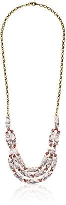 "Sorrelli Peony"" Semi-Precious and Round Crystal Multi-Strand Statement Necklace"