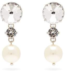 Miu Miu Crystal And Faux Pearl Drop Clip On Earrings - Womens - Crystal