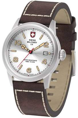 Swiss Military by Charmex By Charmex Men's Vintage Silver Tone Leather Band Watch