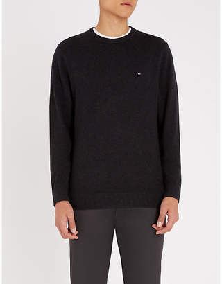 Tommy Hilfiger Logo-embroidered cotton and cashmere-blend jumper
