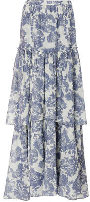 LoveShackFancy Andrea Tiered Floral-Print Cotton And Silk Maxi Skirt