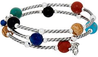 American West Gemstone Bead Sterling SilverCoil Bracelet