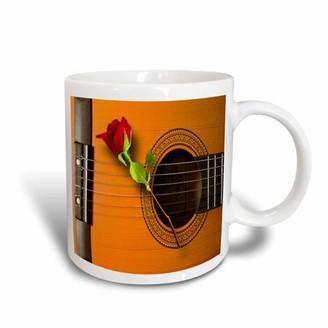 3dRose Cool guitar art with beautiful long stemmed rose, Ceramic Mug, 15-ounce