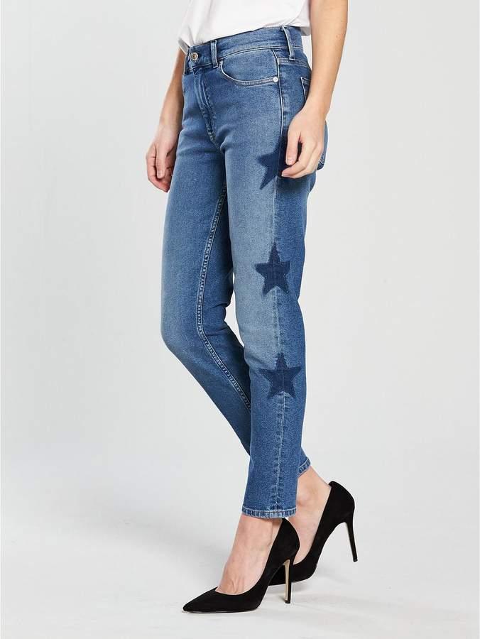 Slim Izzy Star Printed Jeans - Mid Blue