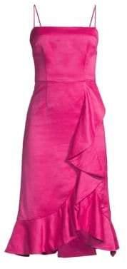 AMUR Ashley Satin Cascading Ruffle Dress