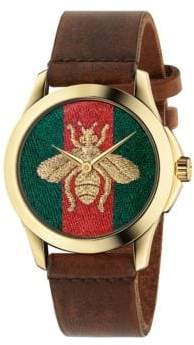 Gucci G-Timeless Embroidered Bee Goldtone Stainless Steel & Leather Strap Watch