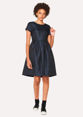 Paul Smith Women's Navy Polka Dot Jacquard Shift Dress