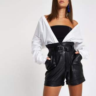 River Island Womens Black faux leather paperbag waist shorts