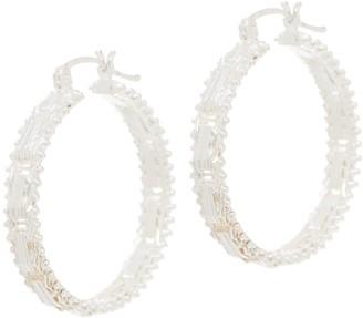 """Imperial Silver 1-1/4"""" Mirror Bar Hoop Earrings"""