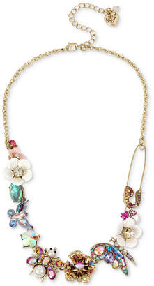 """Betsey Johnson Gold-Tone Stone & Bead Insect Collar Necklace, 15-1/2"""" + 3"""" extender"""