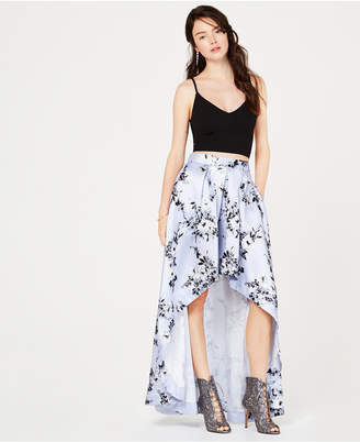 Speechless Juniors' 2-Pc. Solid Cropped Top & Floral Skirt