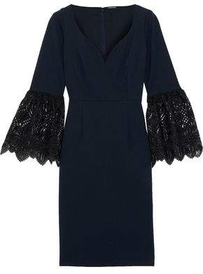 Elie Tahari Danielle Crochet-trimmed Cady Dress