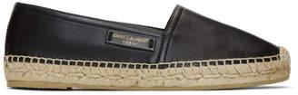 Saint Laurent Black Leather Espadrilles