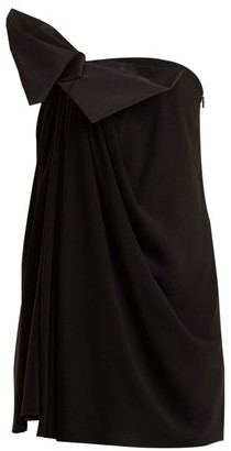 Saint Laurent Bow Embellished Strapless Crepe Dress - Womens - Black