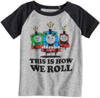 """Thomas & Friends Toddler Boy Jumping Beans This Is How We Roll"""" Percy, Thomas & James Raglan Tee"""