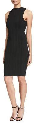 Milly Transparent Striped Sleeveless Fitted Dress