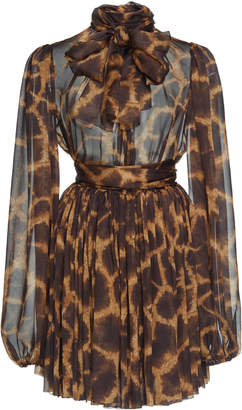 Dolce & Gabbana Animal Print Silk Mini Dress