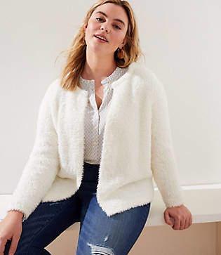 LOFT Plus Fuzzy Open Sweater Jacket
