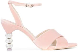 Sophia Webster crystal heel crossover sandals