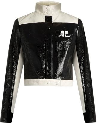 COURRÈGES Contrast-panel patent faux-leather jacket $1,063 thestylecure.com