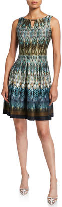Gabby Skye Abstract Sleeveless Fit-&-Flare Scuba Dress w\/ Keyhole