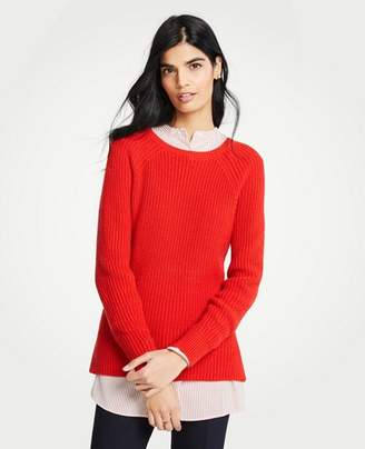 Ann Taylor Petite Ribbed Crew Neck Sweater