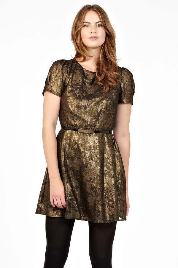 Oasis Metallic Jacquard Skater Dress