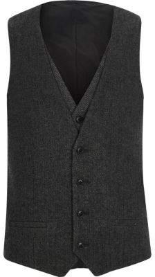 River Island Charcoal grey herringbone vest