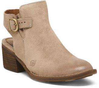 Open Heel Leather Booties