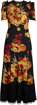 DOLCE & GABBANA Bread-print cady midi dress $4,295 thestylecure.com