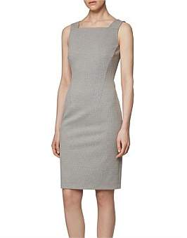 HUGO BOSS Houndstooth Jersey Shift Dress With Full-Length Back Zip