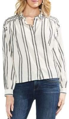 Vince Camuto Bubble Long-Sleeve Cotton Button-Down Shirt