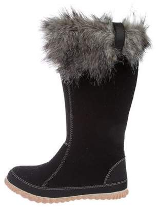Sorel Fur-Trimmed Felt Boots
