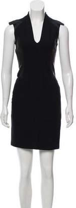 Helmut Lang Leather Accented Sleeveless Sheath Dress