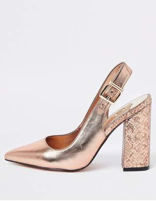 8c6a9a31a82 River Island Block Heel Slingback Court Shoe - Rose Gold