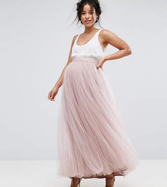 Little Mistress Maternity Maxi Tulle Prom Skirt
