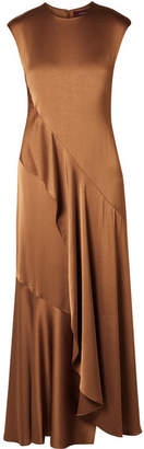 Sies Marjan - Zariah Draped Satin-crepe Maxi Dress - Light brown