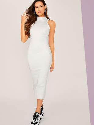 Shein Mock Neck Sleeveless Bodycon Sweater Dress