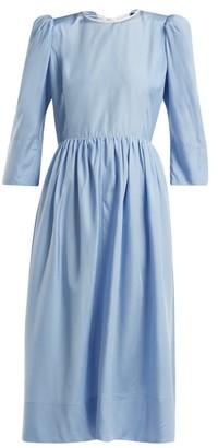 Anna October - Tie Back Cut Out Silk Dress - Womens - Light Blue
