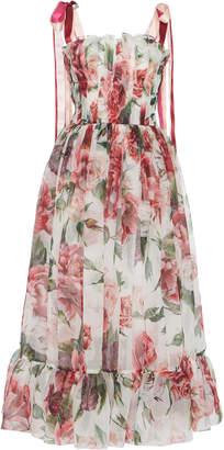Dolce & Gabbana Peony-Print Organza Midi Dress